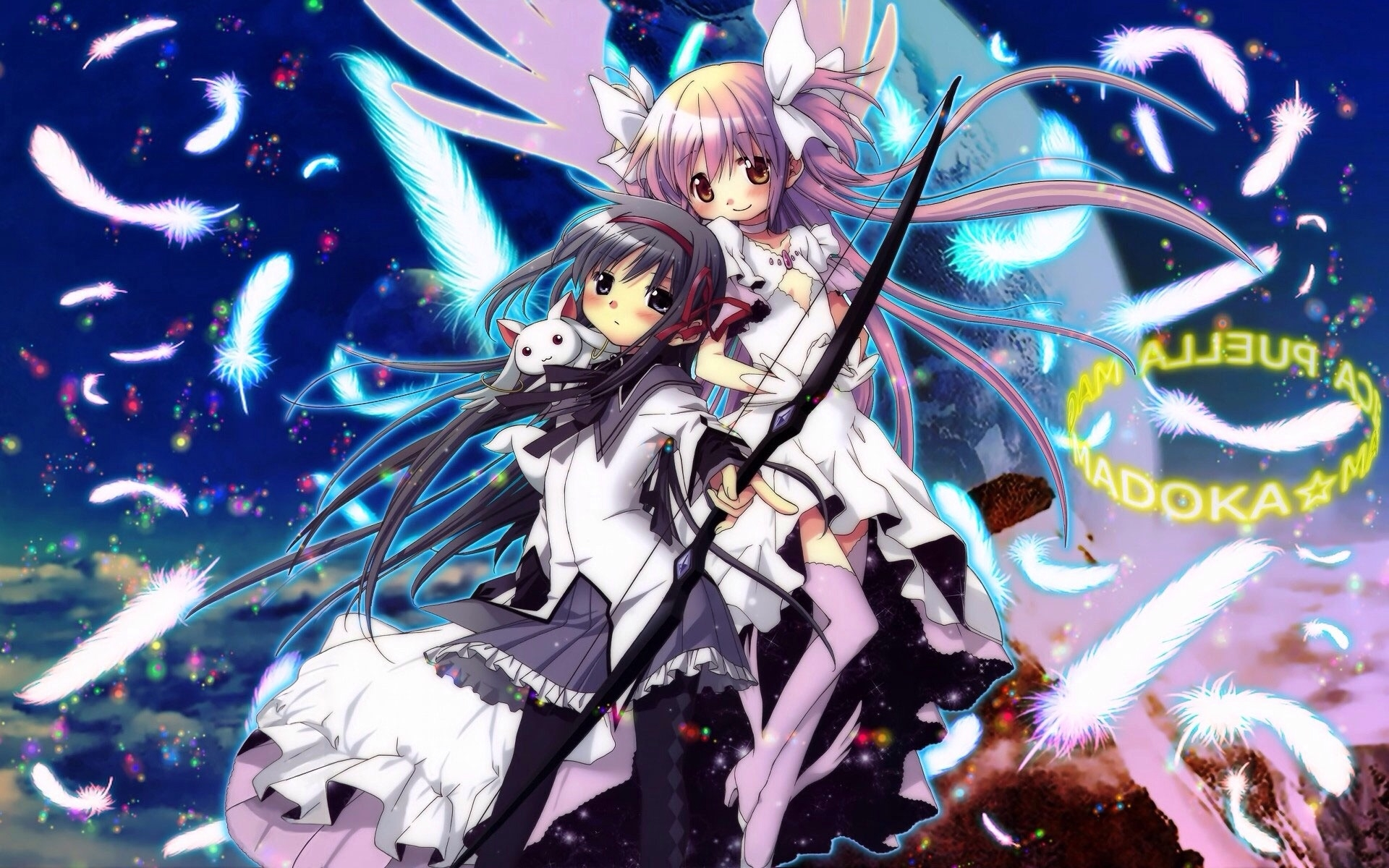 Puella Magi Madoka Magica, Kyubey, Couple, Bow (weapon), Feathers, Pink Hair, White Dress, Girl