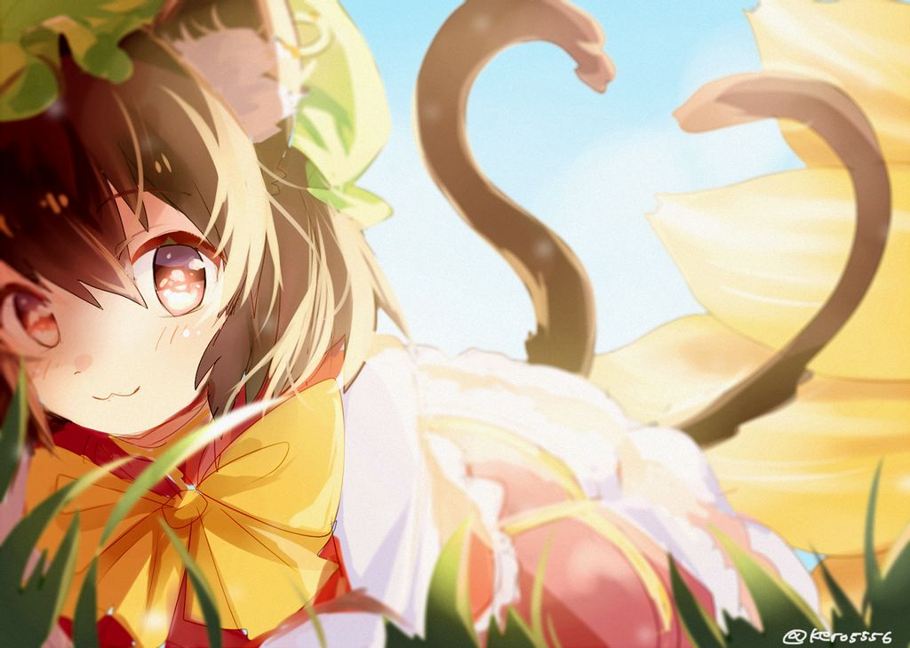 Animal Ears, Bow, Brown Hair, Cat Ears, Cat Tail, Chen, Earrings, Fox Tail, Hat, Jewelry, Multiple Tails, Short Hair, Sketch, Smile, Tail, Touhou, Yakumo Ran