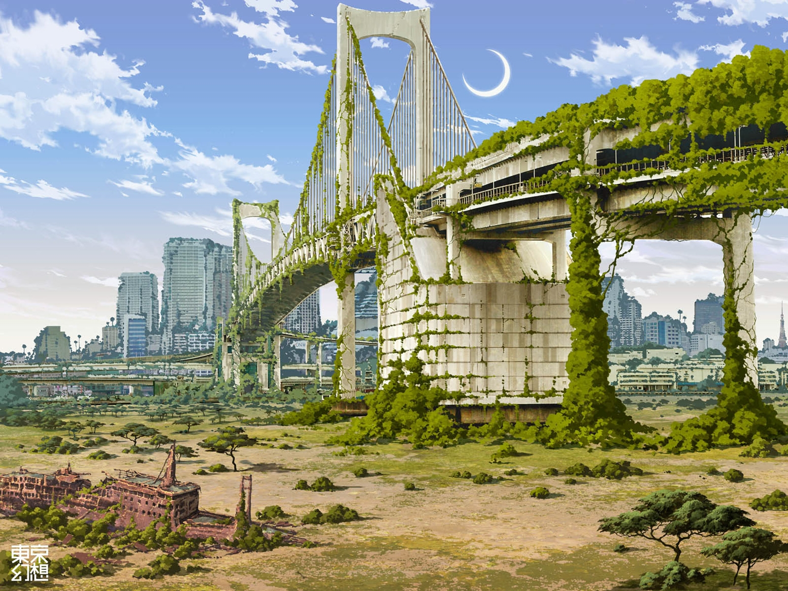 Apocalypse, Apocalyptic, Moon, Deserted, Bridge, Sky, Clouds, Skyscraper, Ruins, Scenic, Scenery, Wreck, Post Apocalyptic, Post-apocalyptic, Post-war, Wallpaper, Sunken Ship, Underwater World