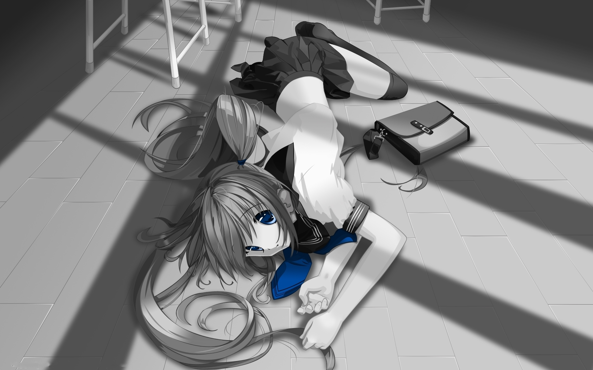 Black And White, Blue Eyes, Long Hair, Girl, School Uniforms, Knee High Socks, Female, Solo, School Bag, School Uniform, Uniform, Laying Down, One Girl, Twin Tails