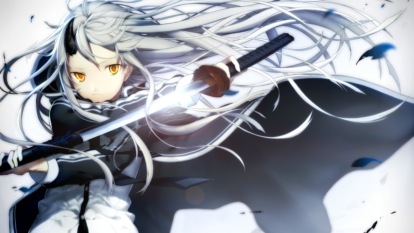 White hair, Sword, Yellow Eyes