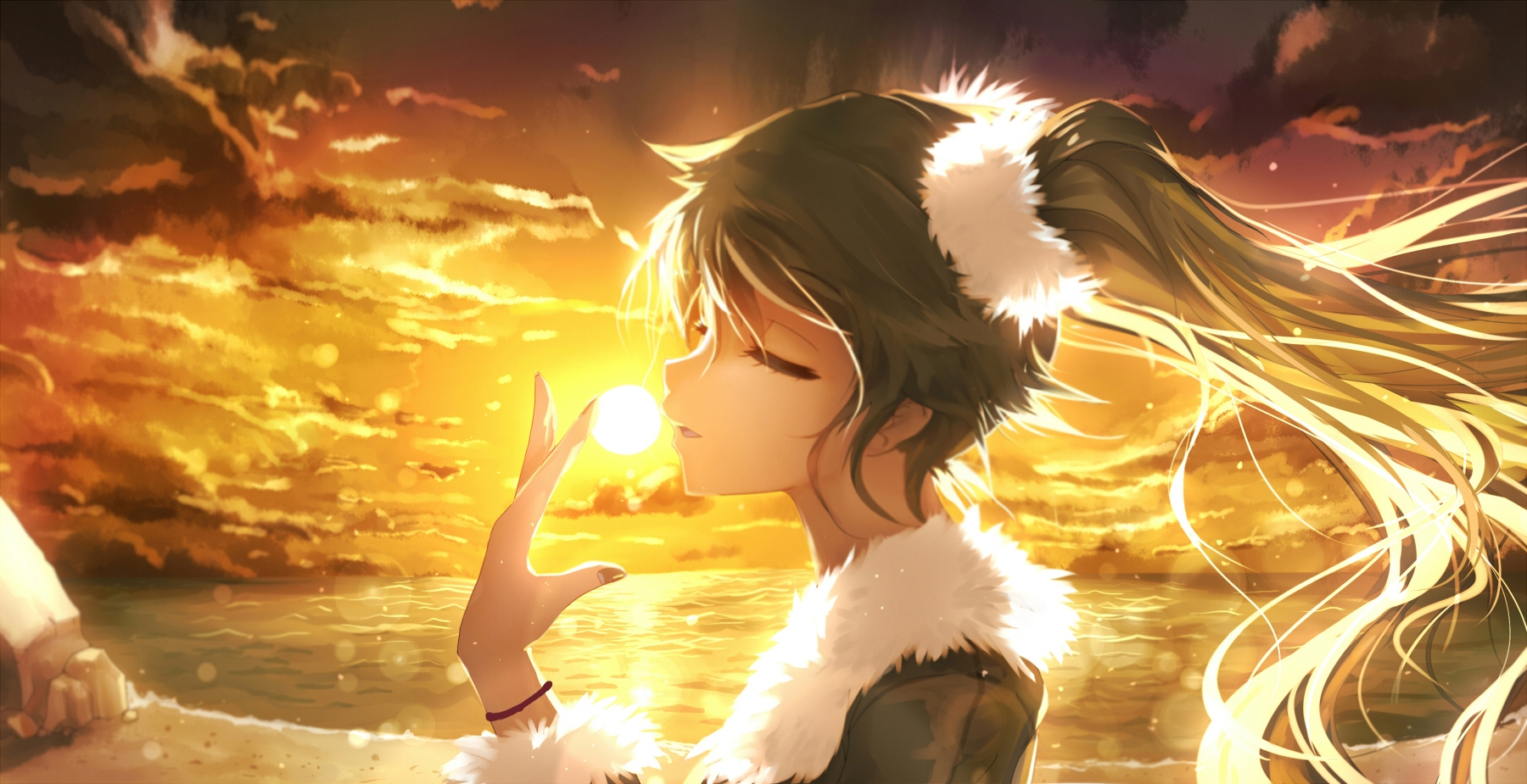 Vocaloid, Female, Twin Tails, Solo, One Girl, Sunset, Sunrise, Closed Eyes, Green Hair, Long Hair, Hatsune Miku, Nail Polish, Water, Ocean, Rocks, Side View, Open Mouth, Hair Ornament, Long Sleeves, Girl, Clouds, Beach