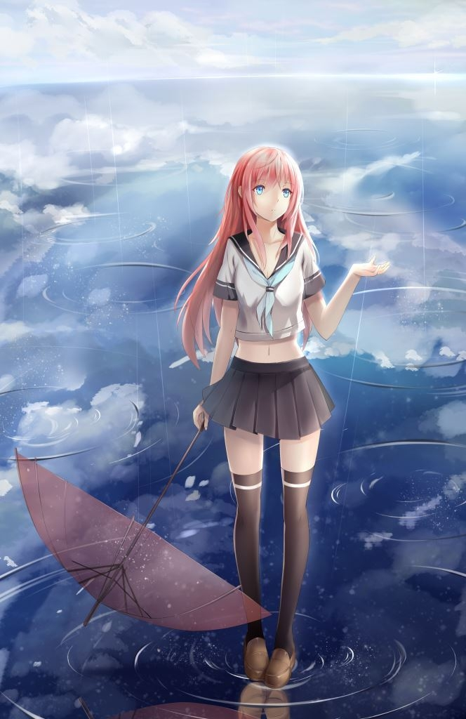 School Uniform, Female, Knee High Socks, Umbrella, Rain, Long Hair, Blue Eyes, Solo, Girl, School Uniforms, One Girl, Skirt, Pink Hair, Shoes, Original Character, Thigh Highs, Water, Clouds, Sky, Looking Up, Uniform, Schoolgirl, Standing