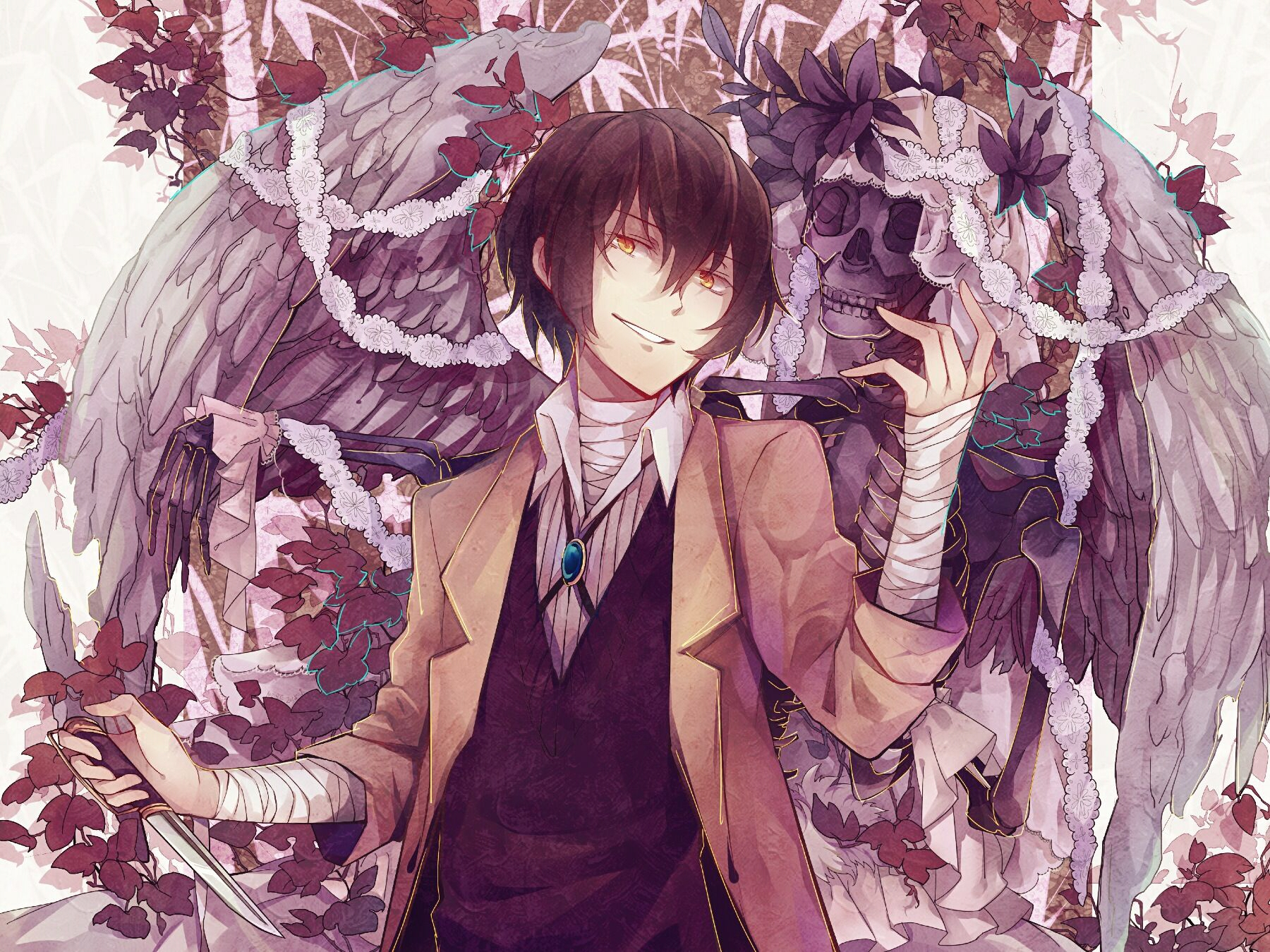 Bungou Stray Dogs, Skulls, Wings Of Freedom, Osamu Dazai