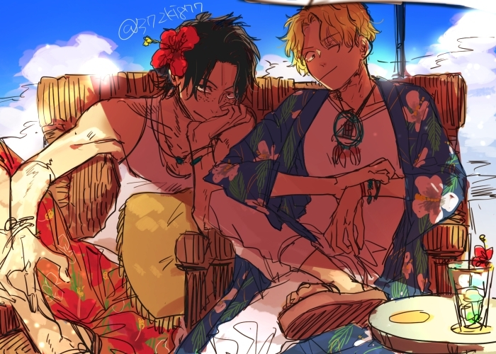 One Piece, Sabo, Portgas D. Ace, Vacation/holiday, Flowers, Black Hair, Blonde Hair