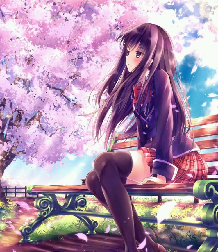 Sakura Blossom, School Girl, Uniform, Sitting, Sitting on Bench