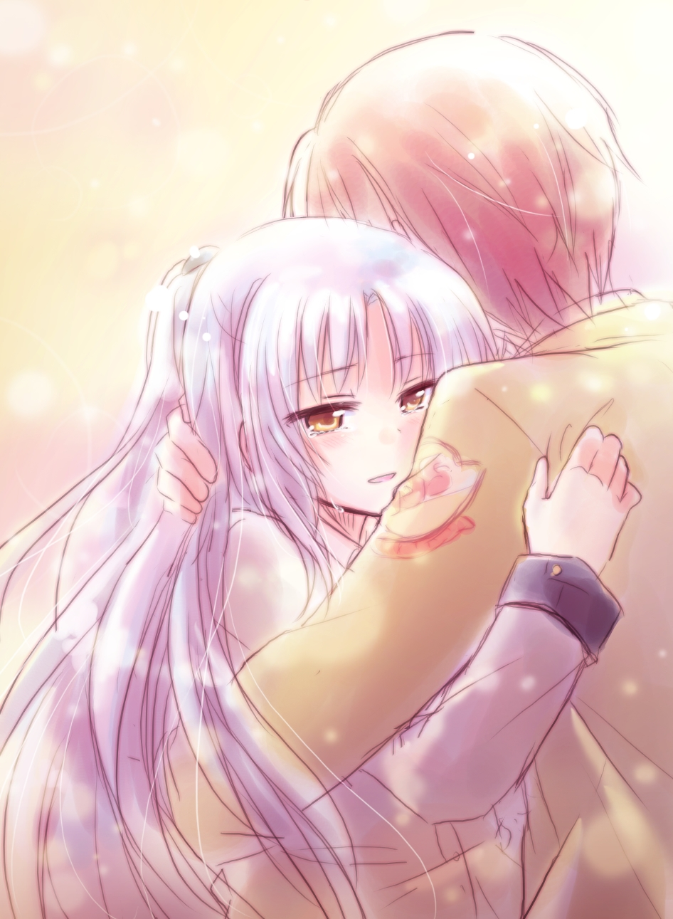 Angel Beats!, Kanade Tachibana, Yuzuru Otonashi, Hug, Cry, Silver hair, Brown Hair, Uniform