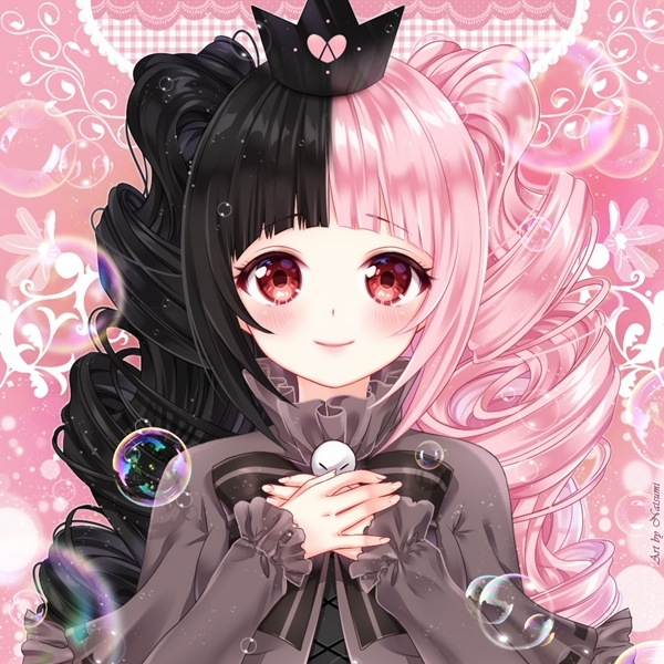 Anime image 31054 less real black hair pink hair red eye patch bubble cute blush voltagebd Image collections