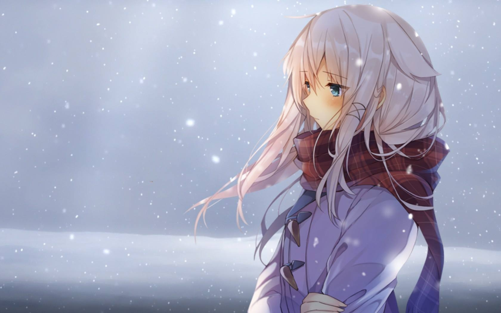 Winter, Scarf, Snow, Blue Eyes, Silver hair, One Girl