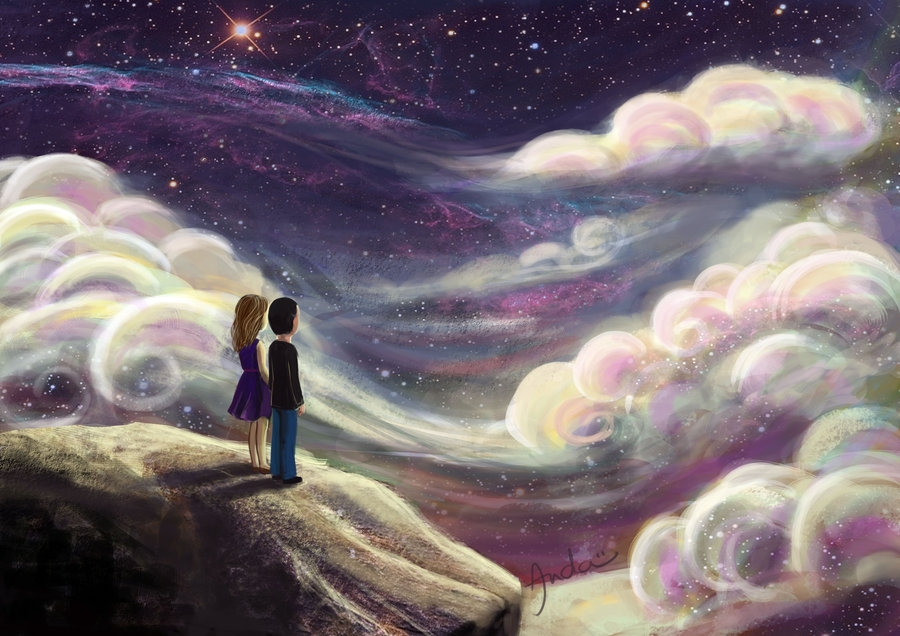 Couple, Sky, Clouds, Wallpaper, Stars