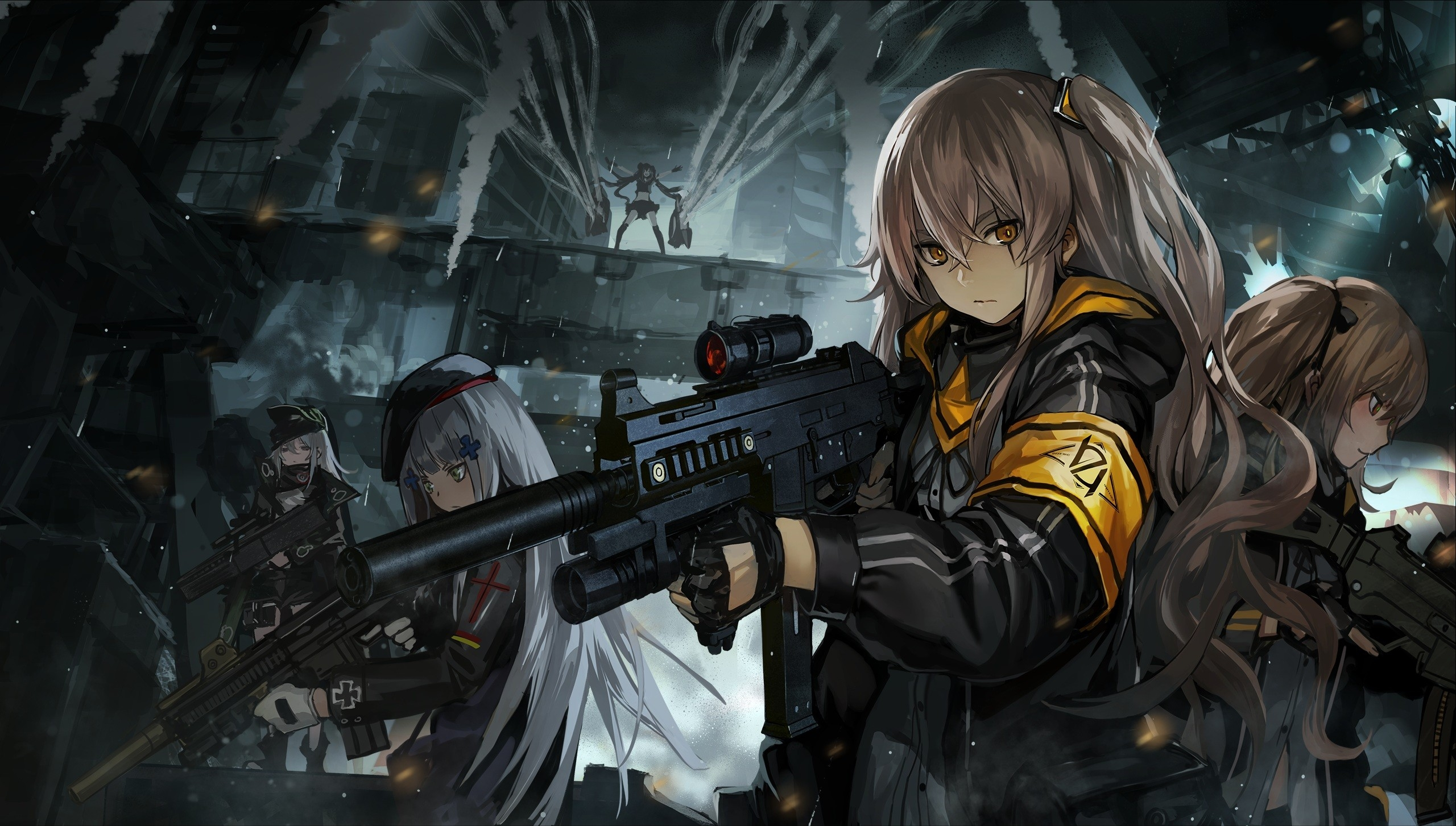 Girls With Guns, Armband, White hair, Long Hair, unknown, Weapons, Dark, Crossover, Cross Necklace, Scars, Yellow Eyes