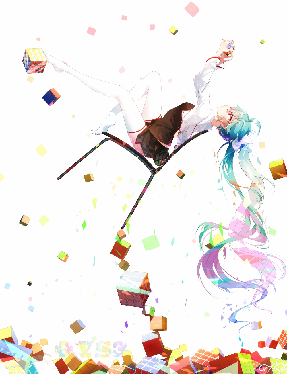 Vocaloid, Bai Yemeng, Hatsune Miku, Blue Hair, Thigh Highs, Long Hair, Red Eyes