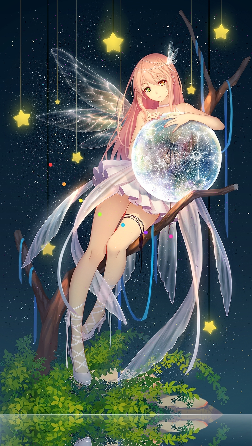 Solo, Female, Girl, Long Hair, Pink Hair, Heterochromia, Multi-colored Eyes, Skirt, Sitting, Tree, Trees, Stars, Sky, Stars (Sky), Shoes, High Heels, Fairy Wings, Hair Ornament, Choker, Nail Polish, Original Character, Rocks, Holding Something, Bare Shoulders, Ribbons, Blue Ribbon, One Girl