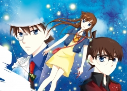 Shinichi Kudou, Ran Mouri, Gosho Aoyama, Kaito Kuroba, Blue Eyes, Dress, Female, Glasses, Hat, Male, Phone, Short Hair, Suit, Tie, Trio, Detective Conan