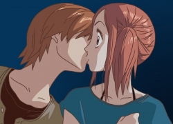 Atsushi Otani, Risa Koizumi, Red Hair, Short Hair, Ponytail, Brown Eyes, Kiss, Female, Male, Couple, Duo, Romantic, Lovely Complex