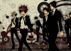 Tsunayoshi Sawada, Male, Female, Group, Gray Hair, Short Hair, Black Outfit, Suit, Tie, Shirt, Hat, Lambo, Katekyo Hitman Reborn!