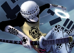 Trafalgar Law, Beard, Blue Skin, Hat, Katana, Male, Tattoo, Solo, One Piece