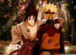 Naruto Uzumaki, Sasuke Uchiha, Black Eyes, Blonde Hair, Duo, Forest, Katana, Leaves, Male, Nature, Short Hair, Spiky Hair, Sword, Tree, Two Males, Weapons, Whiskers, Jinchuuriki, Masashi Kishimoto, Naruto