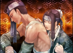 Haku, Closed Eyes, Shirtless, Zabuza Momochi, Bandages, Detached Sleeves, Headband, Male, Nail Polish, Shirtless (male), Short Hair, Spiky Hair, Duo, Two Males, Naruto