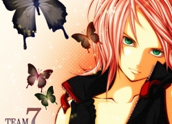 Sakura Haruno, Pink Hair, Green Eyes, Short Hair, Female, Solo, Butterfly, Open Shirt, Team 7, Naruto