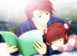 Ushiromiya Ange, Ushiromiya Battler, Closed Eyes, 07th Expansion, Alternate Age, Duo, Female, Male, Red Hair, Short Hair, Siblings, Sleeping, Book, Umineko no Naku Koro ni