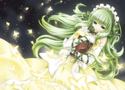 Claire Bernardus, Gloves, 07th Expansion, Solo, Female, Green Hair, Dress, Green Eyes, Butterfly, Yellow Dress, Yellow Outfit, Umineko no Naku Koro ni