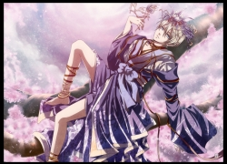 Square Enix, Alois Trancy, Solo, Male, Blonde Hair, Short Hair, Blue Eyes, Thigh Highs, Hair Ornament, Japanese Clothes, Kimono, Traditional Clothes, Tree, Kuroshitsuji, Cherry Blossom