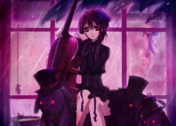 Flower, Rain, Rain, Studio Deen, Yuki Kuran, Brown Eyes, Female, Gothic, Hair Flower, Musical Instrument, Short Hair, Vampire, Vampire Knight