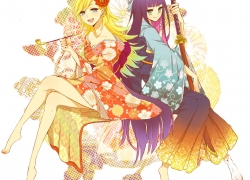 Anarchy Panty, Anarchy Stocking, Flower, Panty And Stocking With Gaterbelt, Smile, Barefoot, Blonde Hair, Blue Hair, Blue Eyes, Female, Two Girls, Duo, Sitting, Blush, Bows (Fashion), Hair Flower, Hair Ornament, Japanese Clothes, Kimono, Katana, Smoking, Sword, Weapons