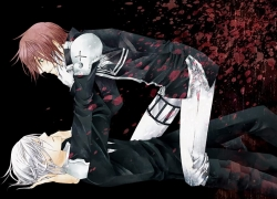 Allen Walker, Lavi, Red Hair, Short Hair, White hair, Facial Mark, Tattoo, Laying Down, On Top, Male, Two Males, Duo, Jacket, Yaoi, Eyepatch, D.Gray-man