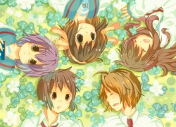 Mikuru Asahina, Flower, Itsuki Koizumi, Yuki Nagato, Haruhi Suzumiya, Closed Eyes, School Uniform, Kyon, Blue Eyes, Brown Eyes, Open Mouth, Purple Hair, Short Hair, Blonde Hair, Uniform, Headband, Grass, Laying Down, Laying In A Circle, Tie, White Shirt, Hair Bow, The Melancholy of Haruhi Suzumiya