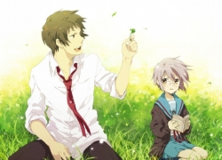 Flower, Noizi Ito, Yuki Nagato, School Uniform, Kyon, Gray Hair, Purple Hair, Short Hair, Glasses, Male, Female, Duo, Brown Eyes, Tie, White Shirt, Grass, Nature, Book, Sitting, Uniform, Noizi Ito, The Melancholy of Haruhi Suzumiya