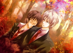 Itsuki Koizumi, Closed Eyes, Kyon, Male, Two Males, Duo, Autumn, White hair, Sleeping, Tie, Leaves, The Melancholy of Haruhi Suzumiya