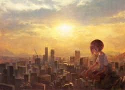 City, Giant, Sun, Clouds, Sky, Girl, Red Hair, Short Hair, Cry
