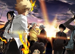 Hayato Gokudera, Hibari Kyoya, Rokudou Mukuro, Ryōhei Sasagawa, Tsunayoshi Sawada, Takeshi Yamamoto, Lambo, Alternate Outfit, Sunset, Clouds, White hair, Short Hair, Male, Group, Green Eyes, Afro, Horns, Katana, Weapons, Sunbeam, Sky, Fire, Katekyo Hitman Reborn!