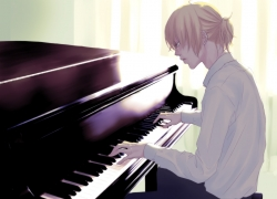Vocaloid, Guy, Blonde Hair, Piano, Short Hair
