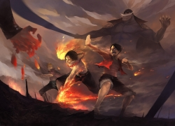 Monkey D. Luffy, Portgas D. Ace, Whitebeard, Fire, Shirtless (male), Sword, Weapons, Whitebeard Pirates, Short Hair, Open Shirt, One Piece