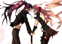Vocaloid, Male, Female, Holding Hands, White Background, Butterfly, Microphone, Headphones, Black Dress, Pants, Purple Hair, Pink Hair