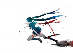 Black★Rock Shooter, Blue, Black Rock Shooter, Katana, Female, Twin Tails, Skirt, Solo