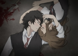 Knife, Duo, Male, Female, Short Hair, Laying Down, Touching, Tie, Shirt, White Shirt, Vest, Blood, Weapons, Blush, Couple
