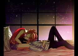 Closed Eyes, Duo, Couple, Romantic, Kiss, Short Hair, Pink Hair, Shirt, Sky, Night Sky, Stars, Bed, Laying Down, Touching