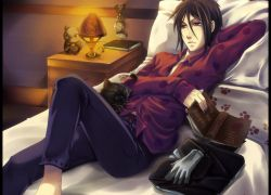 Demon Eyes, Gloves, Deviantart.com, Sebastian Michaelis, Butler, Demon, Laying Down, Cat, Bed, Kuroshitsuji