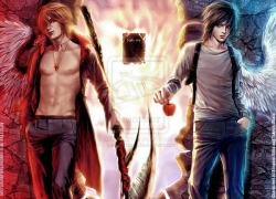 L Lawliet, Mad House, Light Yagami, Blue Jeans, Wings, Scythe, Flames, Open Shirt, White Shirt, Red Coat, Death Note