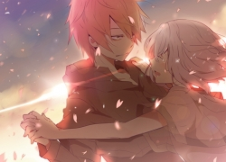 Smile, Closed Eyes, Guy, Girl, Red Hair, White hair, Deep Look, Tears, Pink Petals, Sunshine, Duo