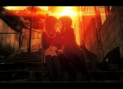 School Uniform, Two Females, Female, Short Hair, Socks, Sunset, Stairs