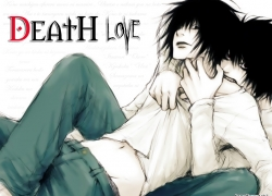 Blue Jeans, Yaoi, L, Bite, Short Hair, Black Eyes, White Shirt, Death Note