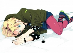 Kurusu Shou, Uta No Prince, Aqua Eyes, Black Nails, Blonde Hair, Body Piercing, Bracelet, Earrings, Jewelry, Laying Down, Male, Nail Polish, Short Hair, Solo