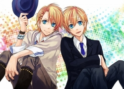 Kurusu Kaoru, Kurusu Shou, Hoodie, Uta No Prince, Black Nails, Blonde Hair, Blue Eyes, Bracelet, Brothers, Family, Hair Clip, Hand On Hat, Hat, Jacket, Jewelry, Male, Nail Polish, Open Mouth, Short Hair, Siblings, Sitting, Duo, Twins, Two Males