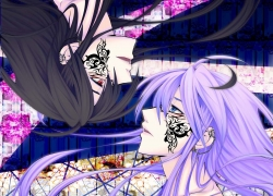 Kamui Gakupo, Vocaloid, Blue Eyes, Duo, Earrings, Male, Purple Hair, Red Eyes, Tattoo