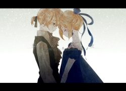 Kagamine Len, Kagamine Rin, Vocaloid, Closed Eyes, Nami / ナミ, Alternate Outfit, Blonde Hair, Blue Dress, Blue Outfit, Couple, Dress, Duo, Female, Male, Princess, Servant, Siblings, Twins, Kagamine Twins, Romantic